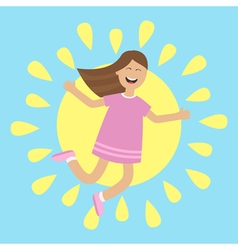 Girl jumping isolated Sun shining icon Summer time vector image