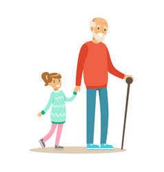 Grandfather and girl walking holding hands part vector