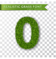 Grass number zero green number 0 isolated on vector