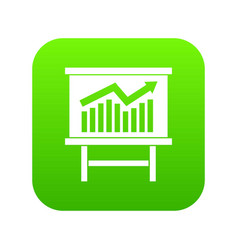 Growing chart presentation icon digital green vector