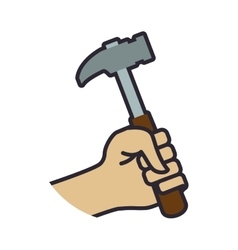 hammer tool repair construction industrial icon vector image