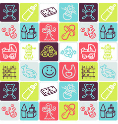 hand drawn icons set - nursery vector image