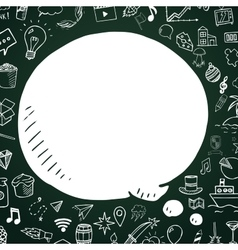Hand drawn speech bubble on chalkboard vector
