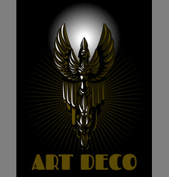 Hand drawn woman made in art deco vector