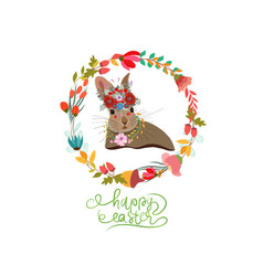 happy easter with bunny wreaths greeting card vector image