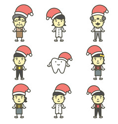 Happy tooth and friend wearing santa claus hat vector