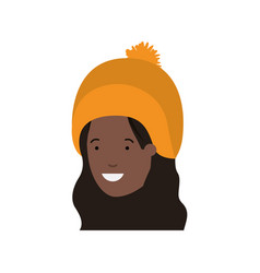 head of woman with winter hat avatar character vector image