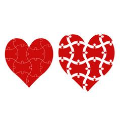 Heart shape puzzle puzzle template vector