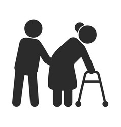 help to disabled people black icon care vector image