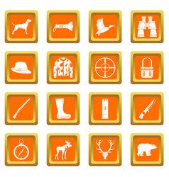 Hunting icons set orange vector