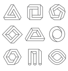 Impossible geometric shapes in linear outline vector image