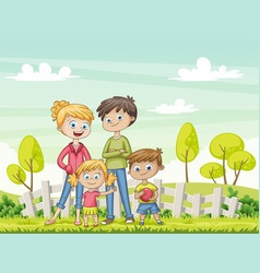 jung family in the garden funny cartoon character vector image