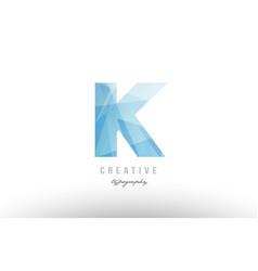 k blue polygonal alphabet letter logo icon design vector image