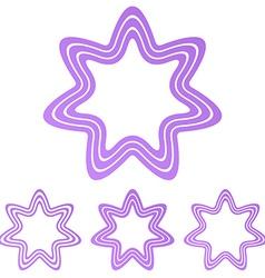 Light purple star logo design set vector