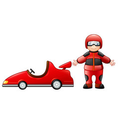 little boy with a red racing car vector image