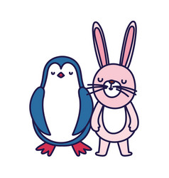 Little penguin and rabbit cartoon character on vector