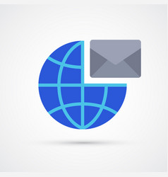 mail globe trendy symbol trendy colored vector image