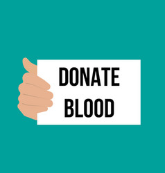 man showing paper donate blood text vector image