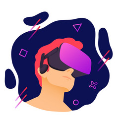man wearing virtual reality headset abstract vr vector image
