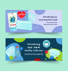 Medical twitter ad design with mask washing gel vector