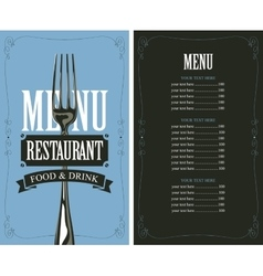 Menu with fork vector