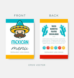 mexican restaurant menu template on white vector image