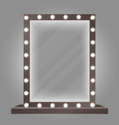 Mirror in frame with bulb lights makeup mirror vector