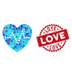 Mosaic heart pulse with distress love seal vector