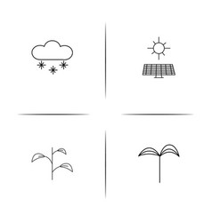 Nature simple linear icon setsimple outline icons vector