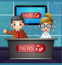 News anchor on television vector