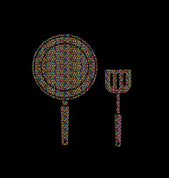 pan and spatula top view vector image