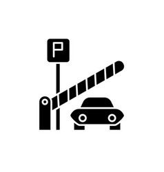 parking lot black icon sign on isolated vector image