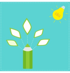 Pencil with leaf icons and light bulb sun Idea con vector image