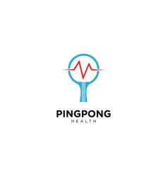 Ping pong health logo design vector