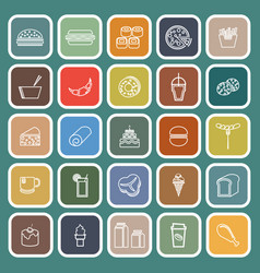 popular food line flat icons on green background vector image