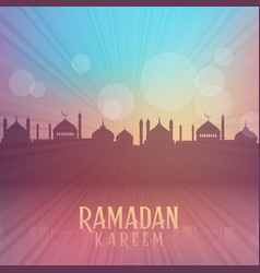 Ramadan kareem background with mosque silhouettes vector