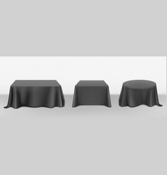 Realistic black tablecloth on tables vector