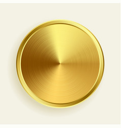realistic gold metallic button in brushed surface vector image