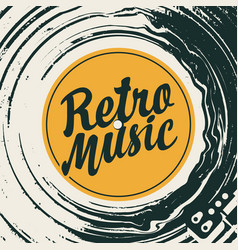 retro music poster with vinyl record and player vector image