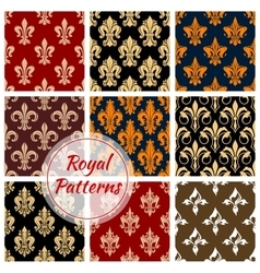 Royal fleur-de-lis floral heraldic flowery pattern vector