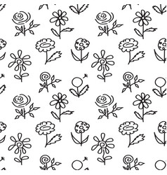 Seamless pattern with hand drawn flowers on white vector