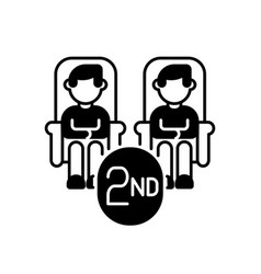 Second class seats black linear icon vector