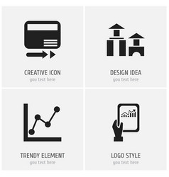 Set of 4 editable analytics icons includes vector