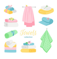 Set of bath colored towels roll and pile vector
