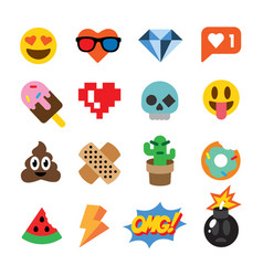 set of cute emoticons stickers emoji design vector image