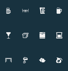 Set simple gastronomy icons vector