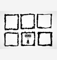 set square grunge black stickers isolated on vector image