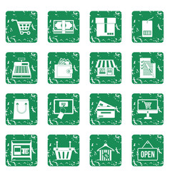 Shopping icons set grunge vector