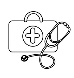 Silhouette suitcase health with stethoscope icon vector