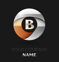 silver letter b logo symbol in the circle shape vector image
